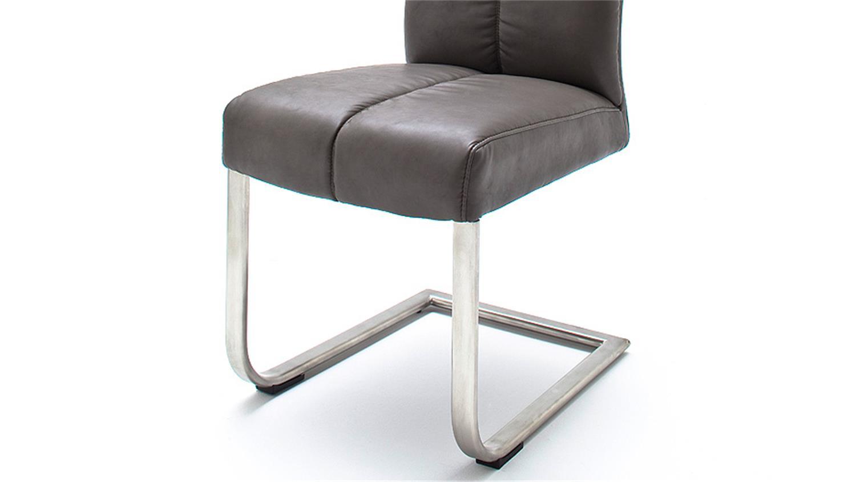schwingstuhl 2er set lounge c grau glanz edelstahl. Black Bedroom Furniture Sets. Home Design Ideas