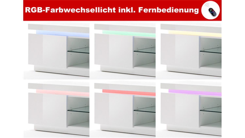 Kommode Ocean Weiss Hochglanz Inkl Rgb Beleuchtung 120 Cm