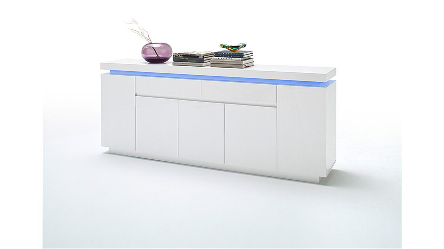 sideboard ocean wei hochglanz inkl rgb beleuchtung 200 cm. Black Bedroom Furniture Sets. Home Design Ideas