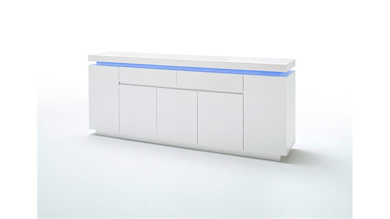 Sideboard OCEAN Weiu00df Hochglanz inkl. RGB-Beleuchtung 200 cm