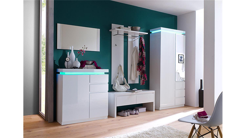 schuhschrank ocean wei hochglanz inkl rgb beleuchtung. Black Bedroom Furniture Sets. Home Design Ideas