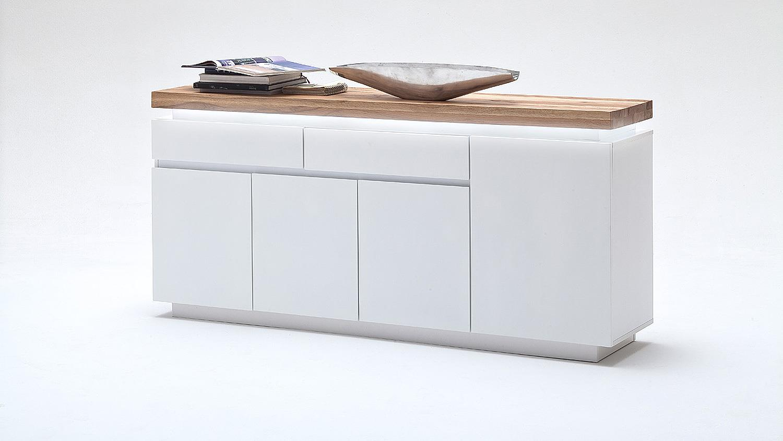 sideboard 2 romina wei matt lack eiche massiv inkl led. Black Bedroom Furniture Sets. Home Design Ideas