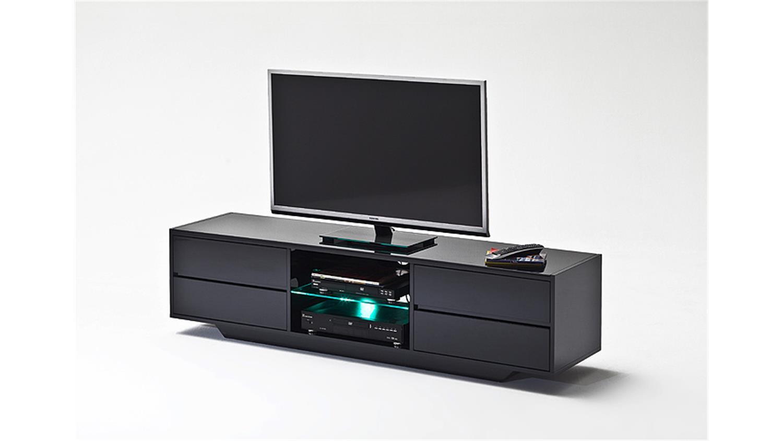 tv board swing in schwarz hochglanz lackiert inklusive led beleuchtung. Black Bedroom Furniture Sets. Home Design Ideas