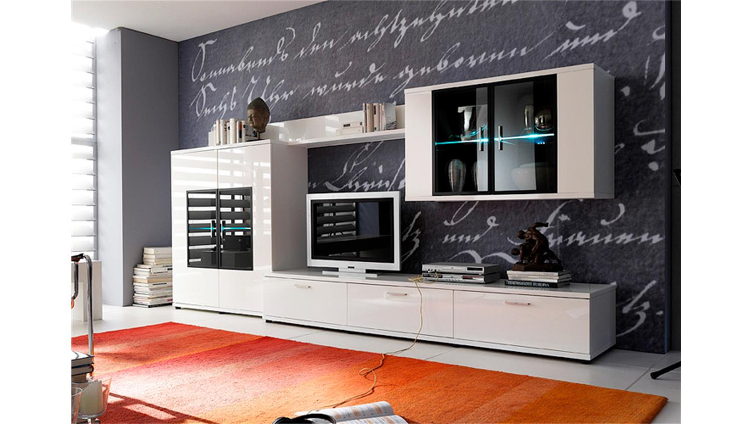 h ngeschrank corano wohnzimmer vitrine hochglanz wei. Black Bedroom Furniture Sets. Home Design Ideas