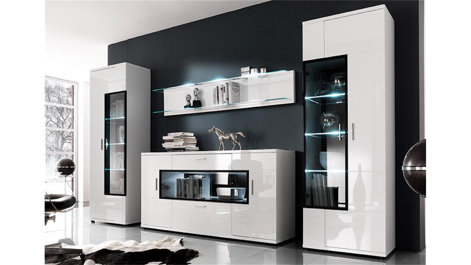 wohnwand corano w04 wei hochglanz alurahmen schwarz. Black Bedroom Furniture Sets. Home Design Ideas