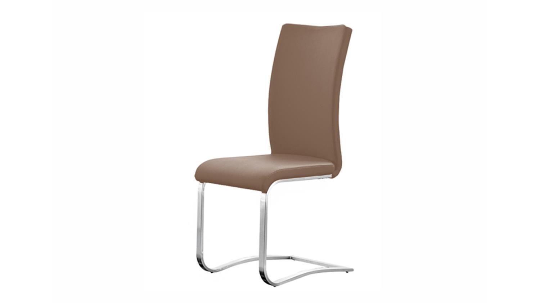 stuhl arco freischwinger 4er set in cappuccino und edelstahl. Black Bedroom Furniture Sets. Home Design Ideas
