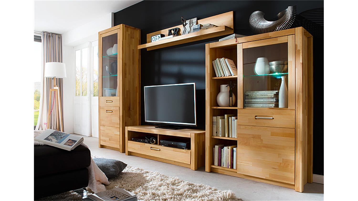 wohnwand fenja kernbuche keilverzinkt massiv ge lt inkl led. Black Bedroom Furniture Sets. Home Design Ideas