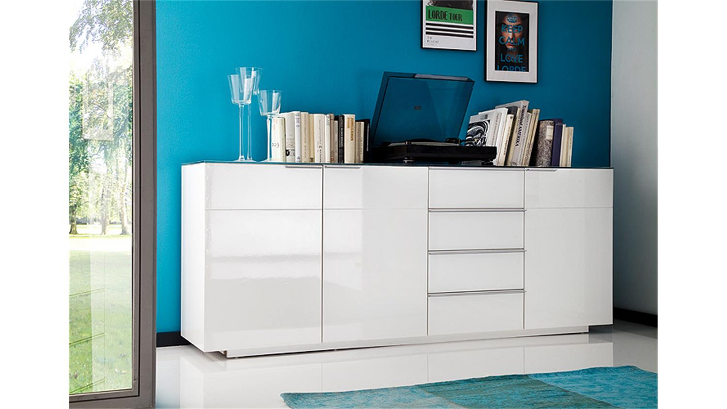 sideboard 2 canberra wei hochglanz lackiert glasplatte. Black Bedroom Furniture Sets. Home Design Ideas
