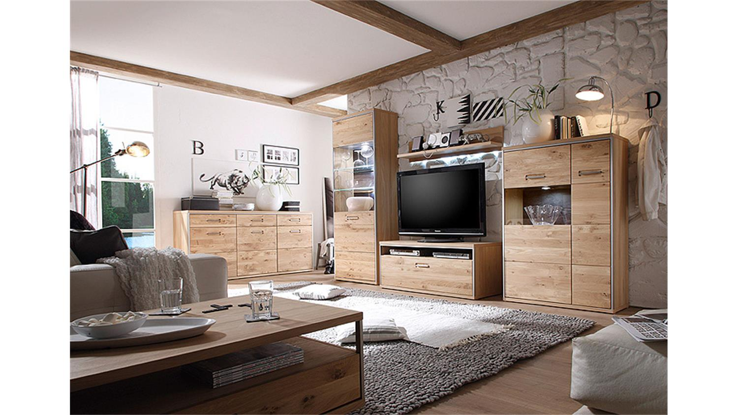 wohnwand 1 espero in ast eiche bianco teilmassiv ge lt. Black Bedroom Furniture Sets. Home Design Ideas