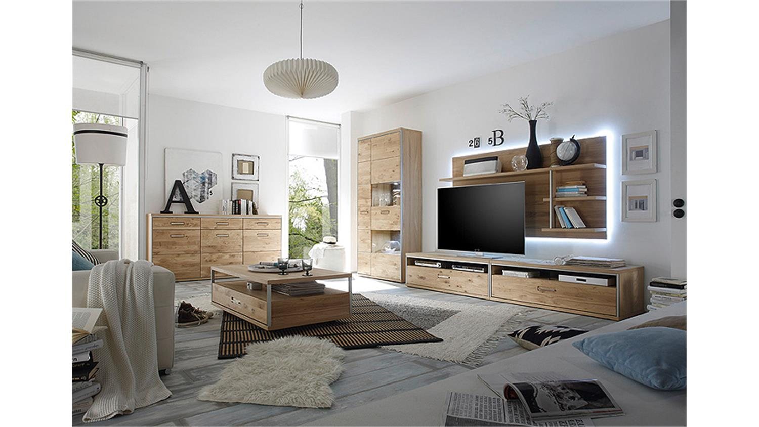 wohnwand 3 espero in ast eiche bianco teilmassiv ge lt. Black Bedroom Furniture Sets. Home Design Ideas