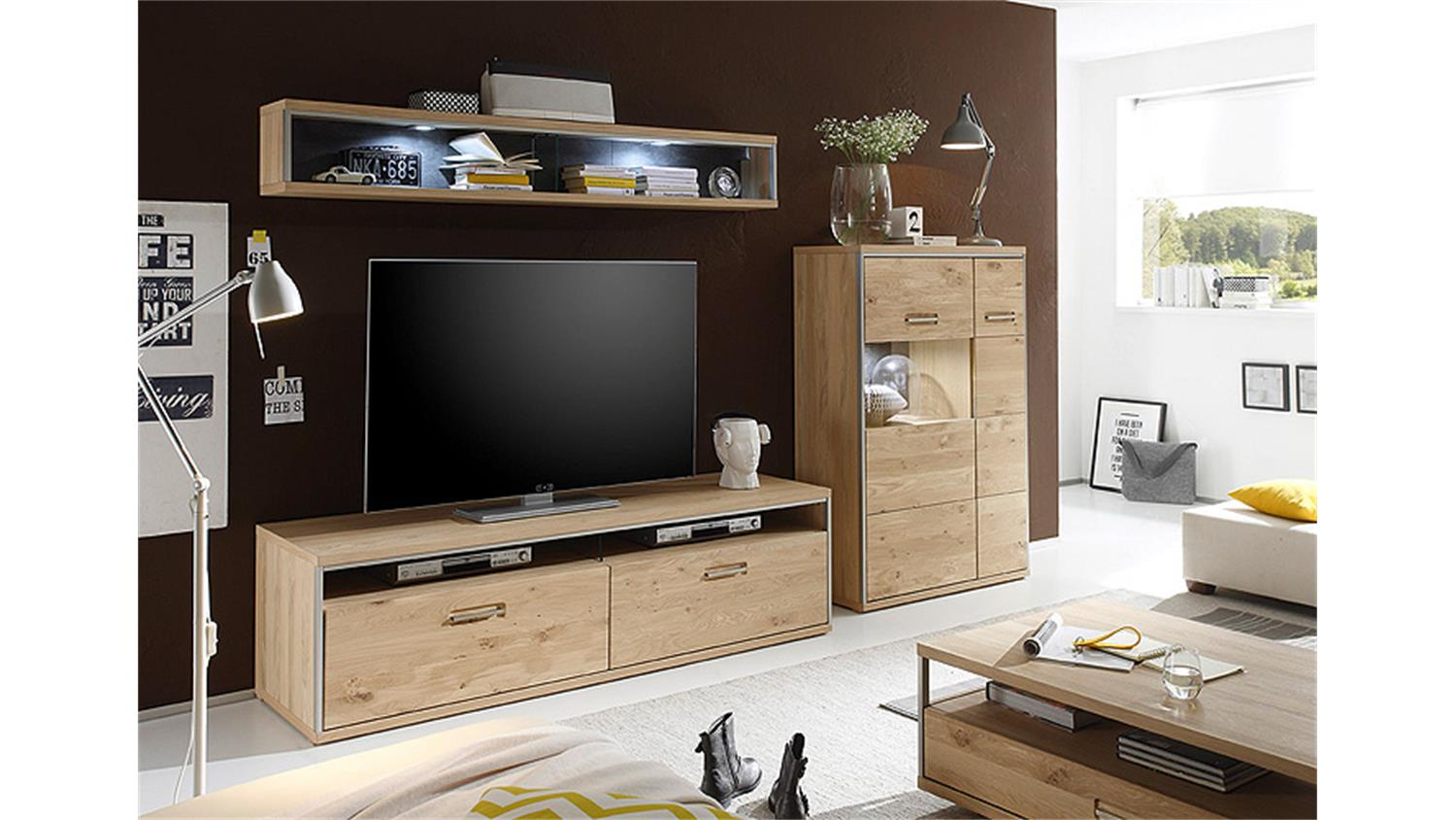 wohnwand 4 espero in ast eiche bianco teilmassiv ge lt. Black Bedroom Furniture Sets. Home Design Ideas