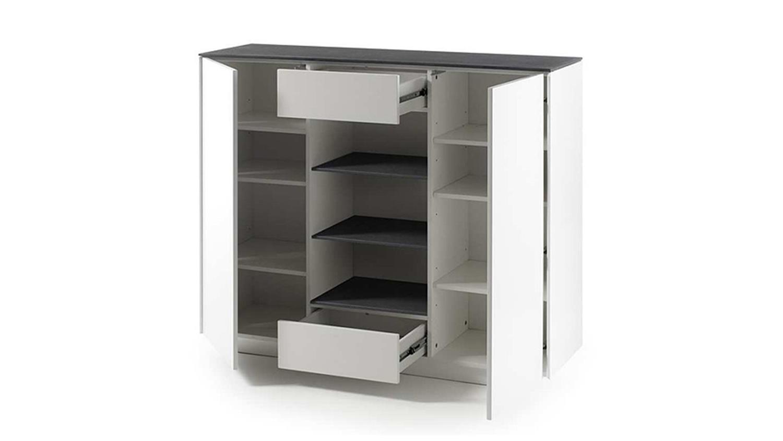 highboard 2 darwin wei matt lackiert glas steinoptik grau. Black Bedroom Furniture Sets. Home Design Ideas
