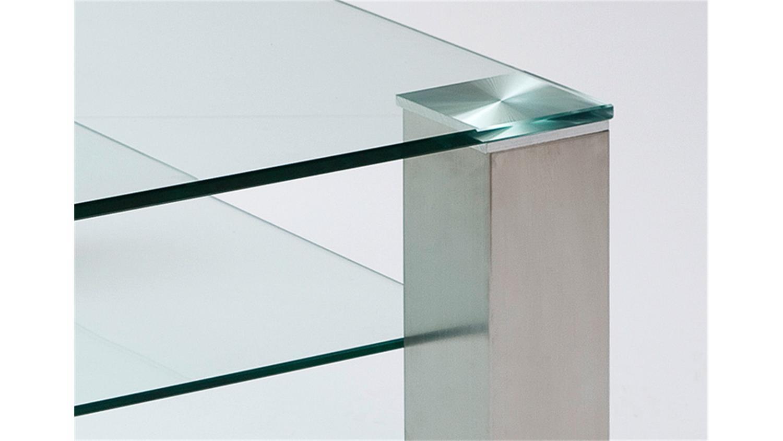 Couchtisch ASTA Klarglas Metall 90×90 cm