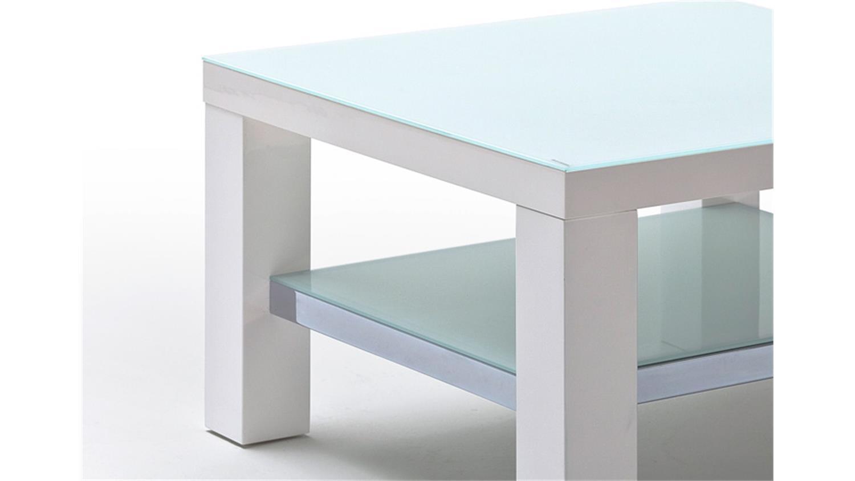Couchtisch JAM MDF weiß Hochglanz lackiert Glas 75×75 cm