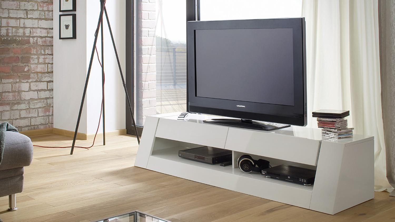 tv board front 1 mdf wei hochglanz lackiert 2 schubk sten. Black Bedroom Furniture Sets. Home Design Ideas