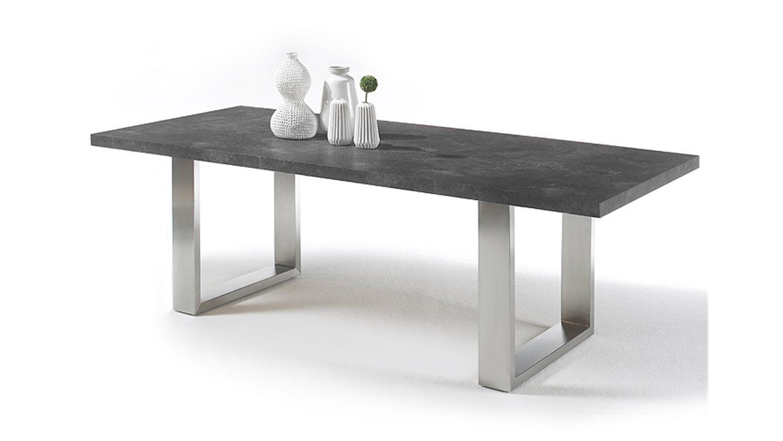 Esstisch Tisch Santos ~ Esstisch STONE 180x100cm anthrazit Marmoroptik Edelstahlgeste
