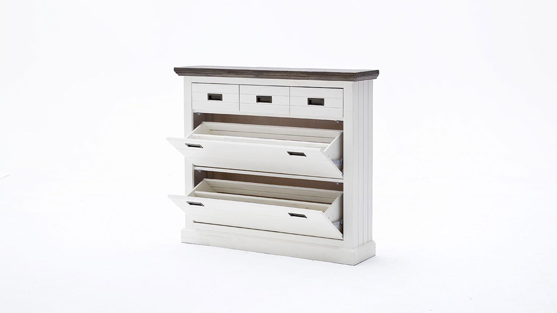 schuhschrank 2 gomera garderobe in akazie wei teilmassiv. Black Bedroom Furniture Sets. Home Design Ideas