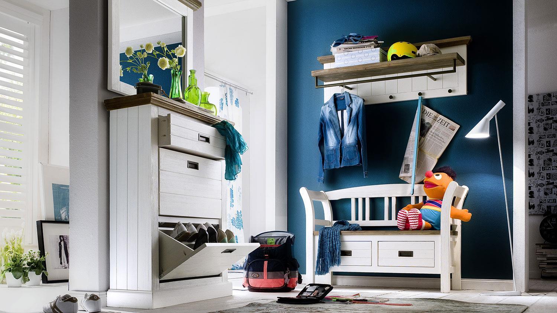 garderobenset 2 gomera garderobe akazie wei teilmassiv. Black Bedroom Furniture Sets. Home Design Ideas