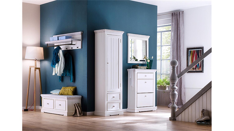 garderobenschrank rechts opus in kiefer massiv wei vintage. Black Bedroom Furniture Sets. Home Design Ideas