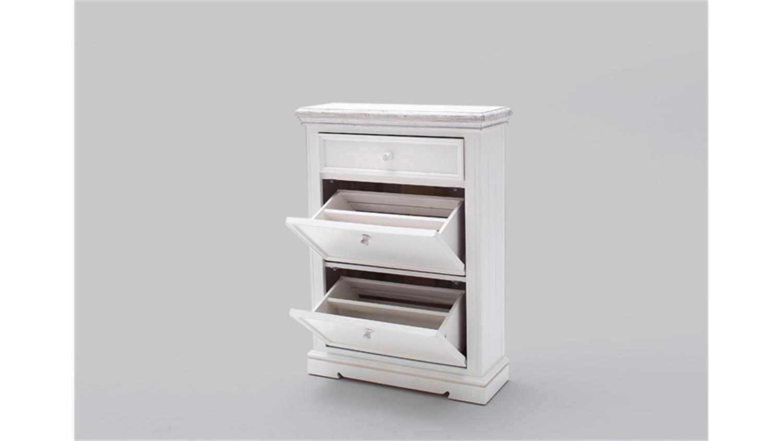 schuhschrank 1 opus garderobe in kiefer massiv wei vintage. Black Bedroom Furniture Sets. Home Design Ideas