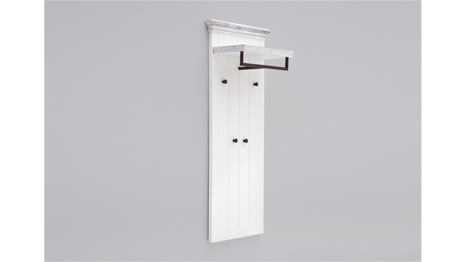 Wandpaneel 1 opus garderobe in kiefer massiv wei vintage for Garderobe wandpaneel
