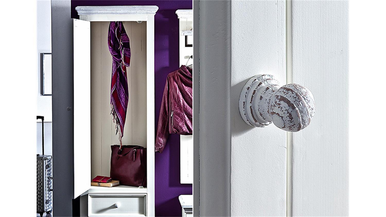 Garderobenset 4 opus garderobe kiefer massiv wei vintage for Garderobe kiefer