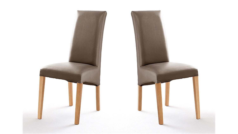 stuhl foxi 2er set in lederlook cappuccino und buche natur. Black Bedroom Furniture Sets. Home Design Ideas