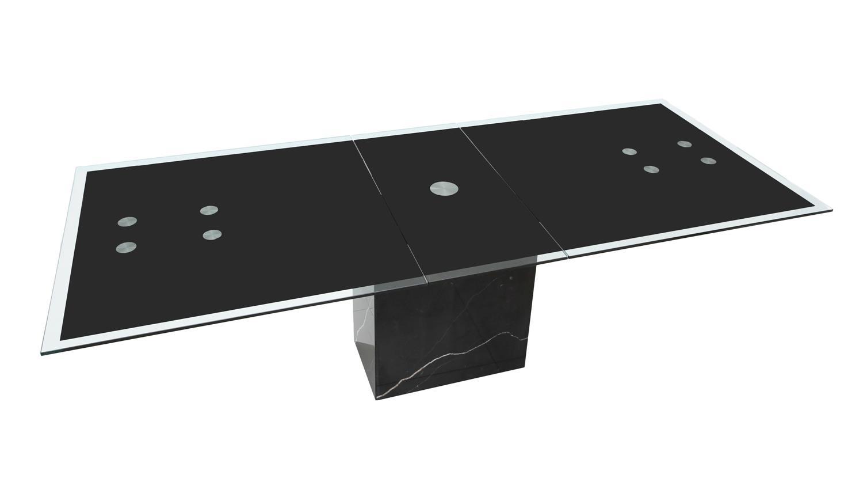 esstisch sinja ausziehtisch glas gestell marmor schwarz. Black Bedroom Furniture Sets. Home Design Ideas