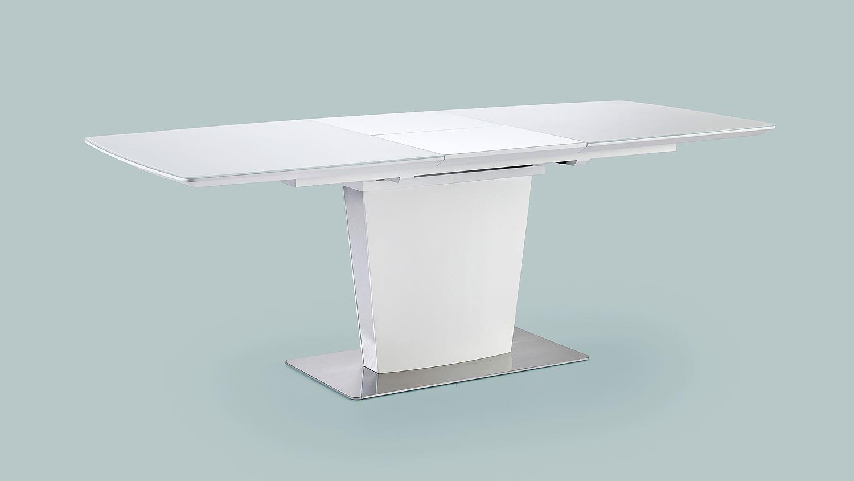 Esstisch hanjo tisch in wei matt lack mit synchronauszug for Esstisch weiss mit grauer platte