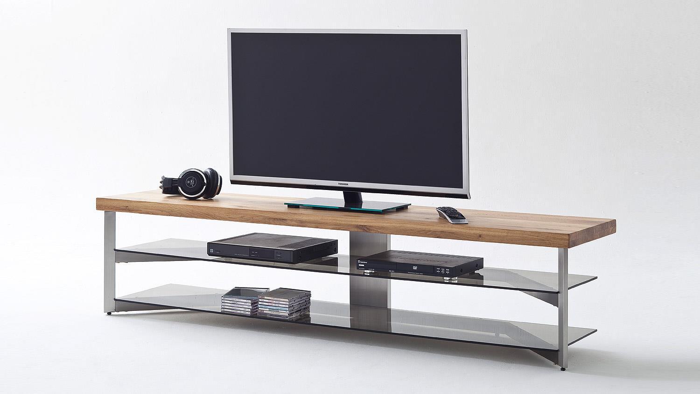 media rack fabia tv board lowboard eiche glas grau 180 cm. Black Bedroom Furniture Sets. Home Design Ideas
