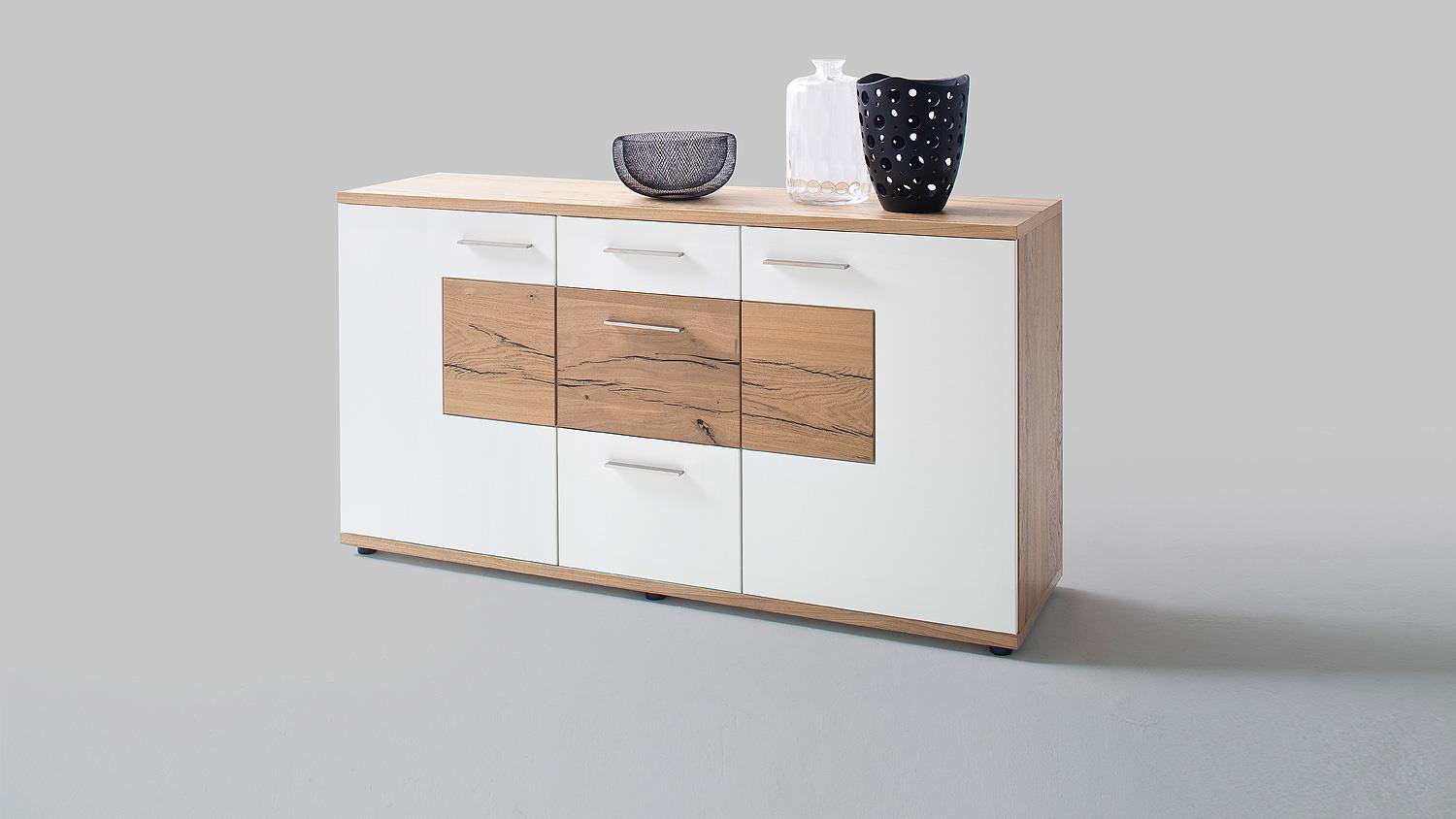 sideboard nizza kommode wei matt lack crackeiche furniert. Black Bedroom Furniture Sets. Home Design Ideas