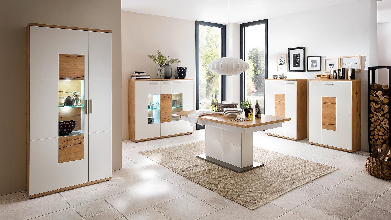 highboard l nizza vitrine wei matt lack crackeiche furniert. Black Bedroom Furniture Sets. Home Design Ideas