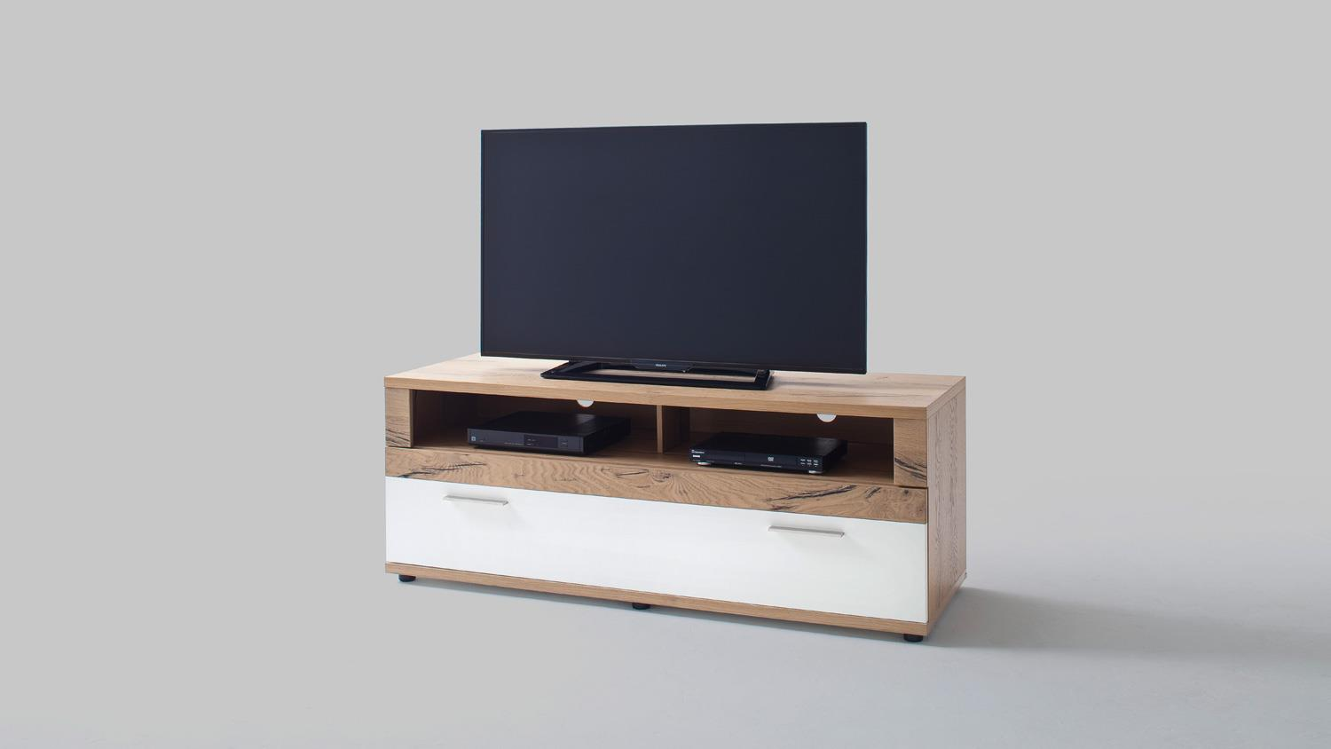tv board nizza lowboard wei matt lack crackeiche furniert. Black Bedroom Furniture Sets. Home Design Ideas