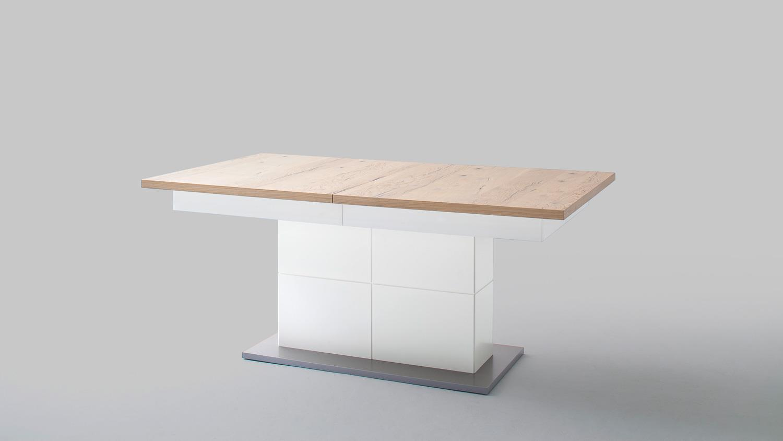 esstisch nizza tisch in wei matt lack crackeiche furniert. Black Bedroom Furniture Sets. Home Design Ideas