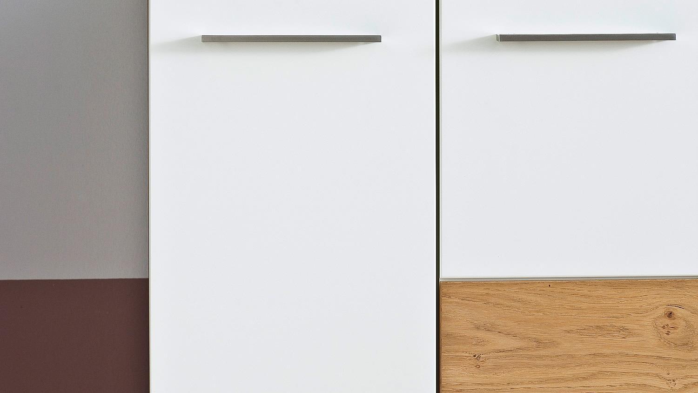 highboard r nizza vitrine wei matt lack crackeiche furniert. Black Bedroom Furniture Sets. Home Design Ideas