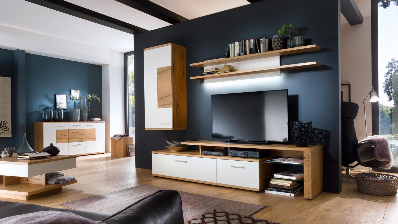Wohnzimmermöbel weiß matt  3 NIZZA Anbauwand weiß matt Lack Crackeiche furniert