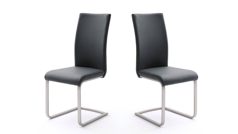 stuhl 4er set paulo 1 esszimmerstuhl schwarz und edelstahl. Black Bedroom Furniture Sets. Home Design Ideas