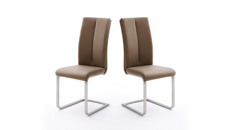 stuhl 4er set paulo 2 esszimmerstuhl cappuccino und edelstahl. Black Bedroom Furniture Sets. Home Design Ideas