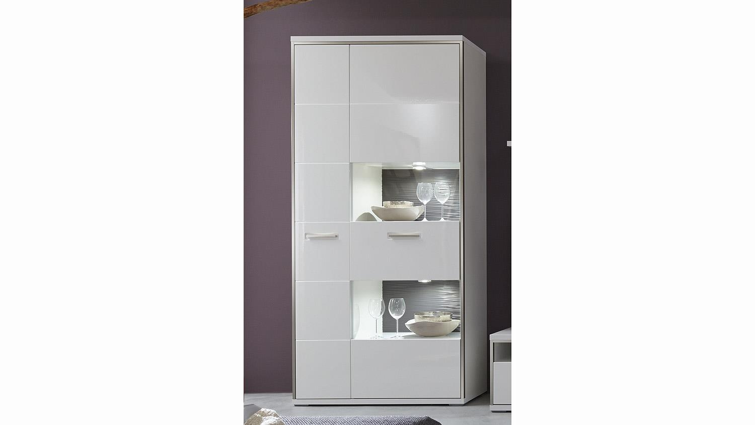 vitrine trento wei hochglanz absetzungen grau b 94 cm. Black Bedroom Furniture Sets. Home Design Ideas