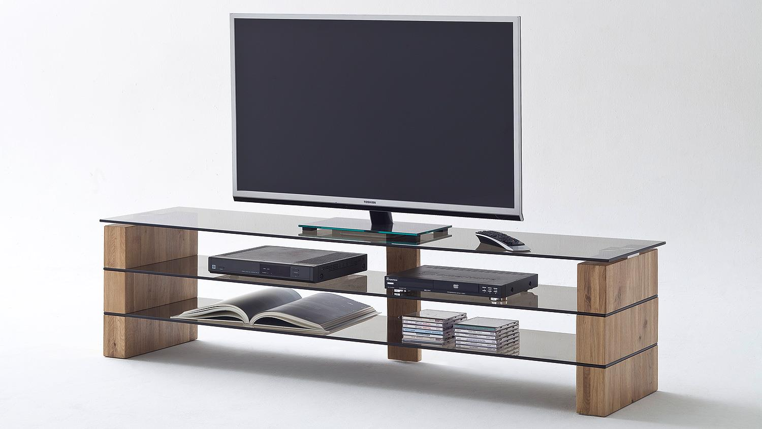 Tv rack kari tv board lowboard in eiche massiv glas grau 140 for Instore mobel martin