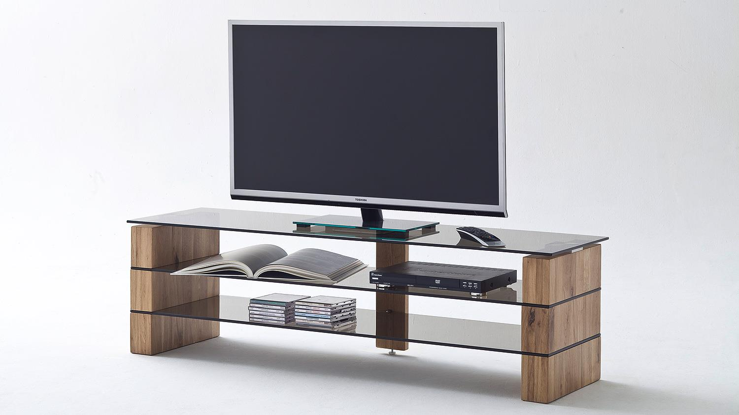 tv rack kari tv board lowboard in eiche massiv glas grau 160. Black Bedroom Furniture Sets. Home Design Ideas
