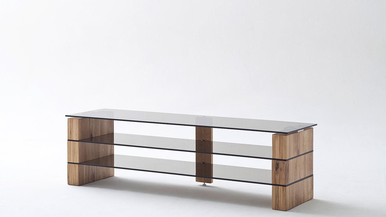 tv rack kari tv board lowboard in eiche massiv glas grau 160. Black Bedroom Furniture Sets. Home Design Ideas