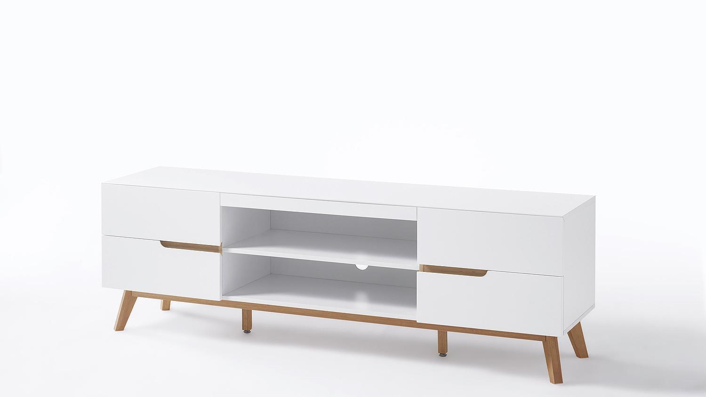lowboard cervo tv board unterschrank in wei matt lack eiche. Black Bedroom Furniture Sets. Home Design Ideas