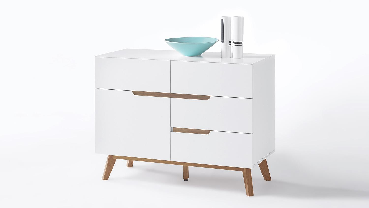 Kommode cervo anrichte sideboard in wei matt lack eiche for Kommode cervo