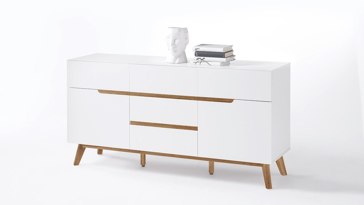 sideboard cervo kommode anrichte in wei matt lack eiche. Black Bedroom Furniture Sets. Home Design Ideas