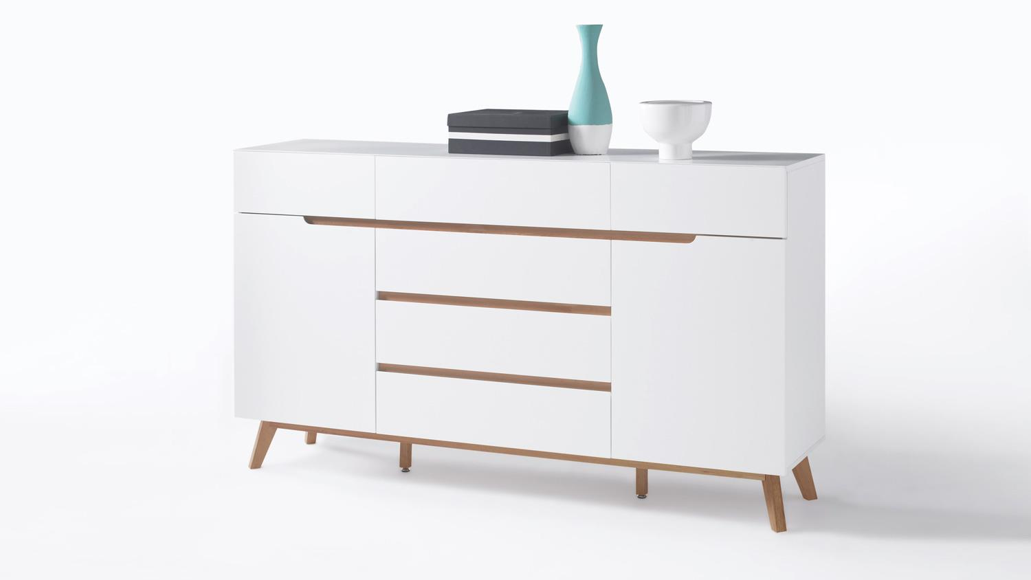 sideboard cervo anrichte kommode in wei matt lack eiche. Black Bedroom Furniture Sets. Home Design Ideas