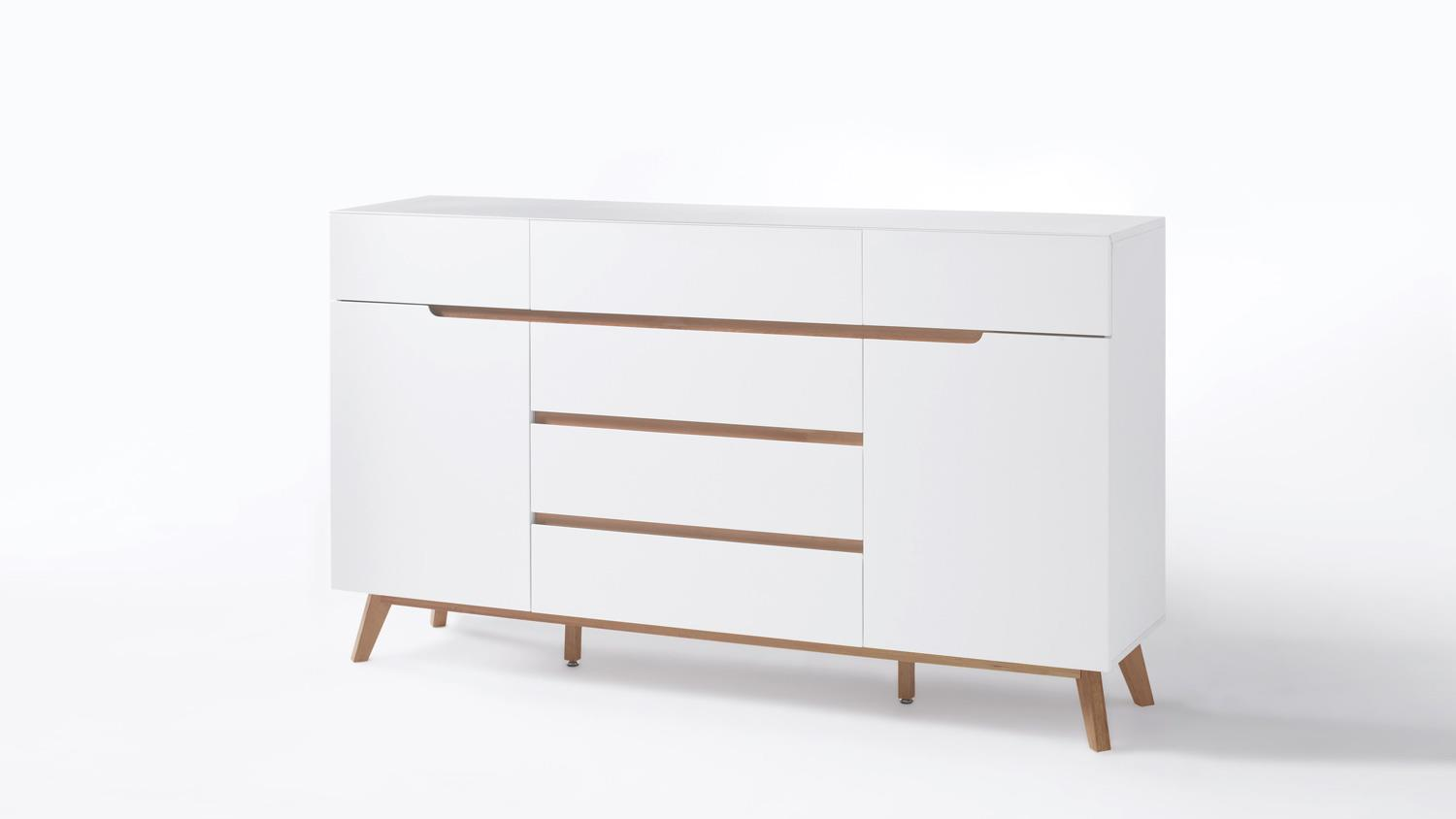 Sideboard cervo anrichte kommode in wei matt lack eiche for Kommode cervo
