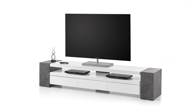 Tv Lowboard Beton : tv rack jule tv board lowboard wei matt lack und beton ~ Indierocktalk.com Haus und Dekorationen