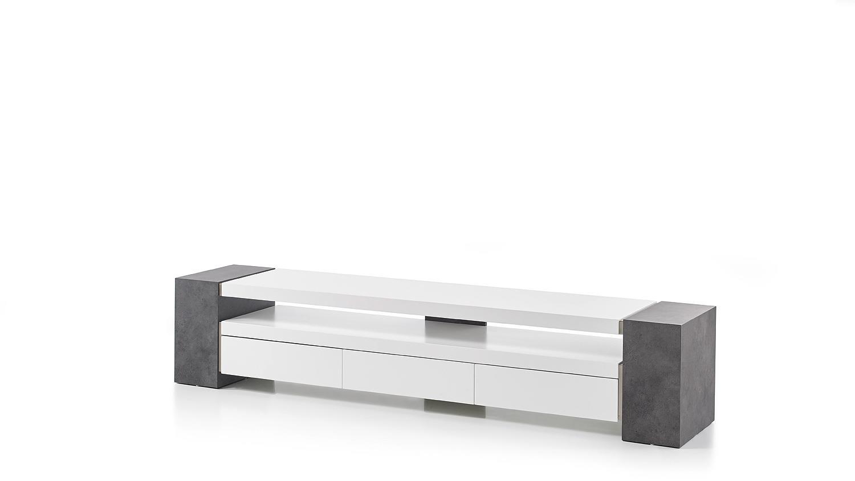 Lowboard weiß matt  TV-Rack JULE TV-Board Lowboard weiß matt Lack und Beton