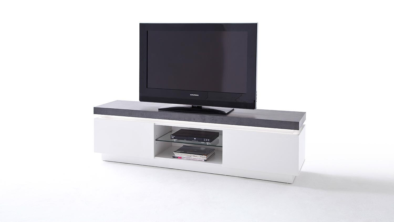 lowboard atlantas tv board in wei matt beton inkl led. Black Bedroom Furniture Sets. Home Design Ideas